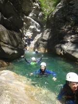 nage dans le canyon d'initiation